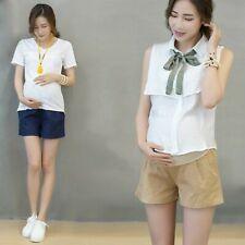 Maternity Women Linen Cotton Shorts Over Bump Pants Pregnancy Loose Casual Soft