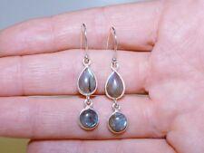 GENUINE! 6.0cts! African Labradorite Hook Drop Earrings, Sterling Silver 925!.