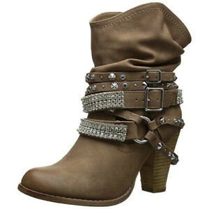 Women's PU Leather Rivet Rhinestone Belt Buckle Combat Ankle Boots Punk Shoes