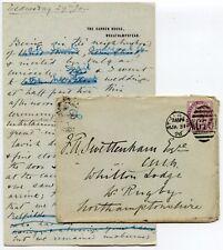GB QV 1896 Lettera a Frank swettenham da Beatrice GIARDINO CASA wheathampstead