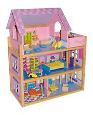 Pink Wooden Dolls House Furnished Toy Play Set HL