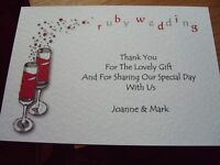 5 RUBY WEDDING ANNIVERSARY THANK YOU CARDS PERSONALISED WITH ENVELOPES CHF