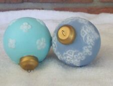 2 - Ceramic Ball Ornaments Blue Torquise White Floral