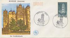 """FRANKREICH 1967, Tourismus Kathedrale von Rodez unadressierte FDC mit """"12 RODEZ"""""""