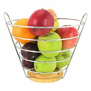 Upright Chrome Wire Fruit Bowl Basket Stand Apple Orange with Wooden Base
