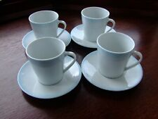 Set of Four John Rocha Cups and Saucers ...Powder Blue & White