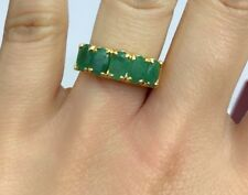 14k Solid Yellow Gold One Rows Band Ring Natural Emerald, Sz 7.5. 3.60 Grams