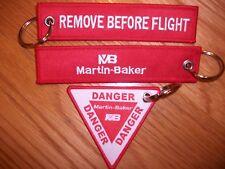 REMOVE BEFORE FLIGHT MARTIN BAKER  DANGER EJECTION SEAT  KEY RINGS SET OF 2...