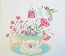 Alice's Cottage Cotton Flour Sack Kitchen Tea Towel Teacup Hummingbird Nest  NEW
