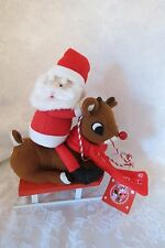 Rudolph The Red Nose Reindeer & Santa Plush On Sleigh Dan Dee Collector's NWT