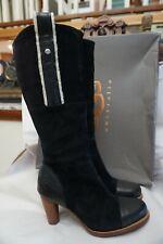 UGG Australia Tess 5504 Black 6.5 Suede Tall Sheepskin Boots Leather High Heel