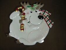 Fitz and Floyd Christmas Reindeer Canape (appetizer) Plate for Gift Gallery