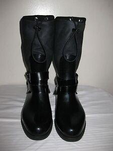 Stuart Weitzman  Faux Fur Side Buckle Black Rain Boots Shoes Size 37 / 6.5