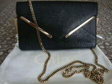 Chloe pebbled leather envelope clutch handbag with chain