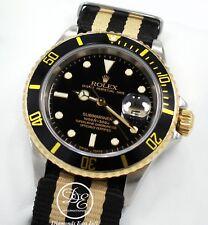 ROLEX Submariner 16613 Two Tone 18K Yellow Gold /Steel Black Bezel Watch *MINT*