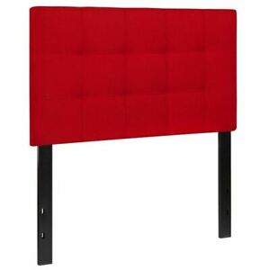 Red Fabric Quilted Tufted Upholstered Twin Size Contemporary Style Headboard
