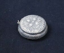 Antique 19c Spaulding Sterling Silver Repousse Flower Blossom Snuff Box