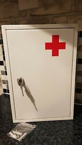First Aid Medical Cabinet Wall Mount Case Stainless Steel Lockable Safe new