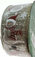 New 5 Yards x (2.5'') Wired Christmas Happy Snowman Ribbon