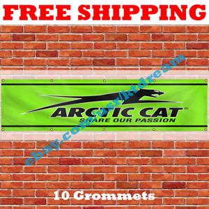 Arctic Cat Banner 2x8ft Banner Flag Sign Garage Shop Man Cave Large Wall Decor