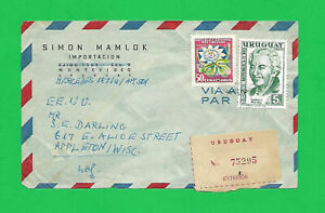 URUGUAY 1959  REGISTERED AIR COVER to APPLETON, WISCONSIN