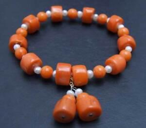 """10-11mm Thick Slice Natural Pink Coral Bracelet for Women Pearl Bracelet 7.5"""""""