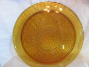 """Tiara Amber Indiana Sandwich Glass 13"""" Decanter Tray or Cake Plate Platter"""