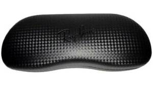 Ray Ban Carbon Fiber Black Eyeglasses Clamshell Hard Case w/ cleaning Cloth- New