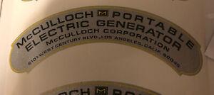 McCulloch Portable Generator Decal Reproduction Metallic Silver