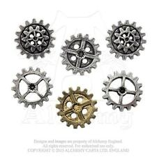 AE S9 - Steampunk Gearwheel Buttons - LARGE - Cogs - Pewter & Gilt Plate
