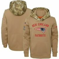 Men's New England Patriots Football Salute To Service Nike Therma-Fit hoodie tan