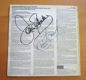 SXL 6930 Joan Sutherland Sings Wagner SIGNED AUTOGRAPHED Bonynge Decca NM