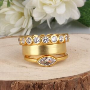 18k Gold Plated Stackable CZ Rings Set 925 Silver Engagement Ring Jewelry