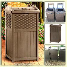 Outdoor Trash Hideaway Resin Wicker Patio Garden Garbage Waste Bin Can  Basket