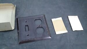 New Vintage Arrow Ribbed BROWN Bakelite toggle outlet Switch Plate Cover