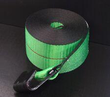"10 GREEN 4""x30' Winch Straps Flat Hook Flatbed Truck Trailer Tie Down Strap FH"