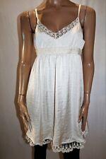 TUSK Designer Cream Lace Trim Sleeveless Day Dress Size 12 BNWT #TP33