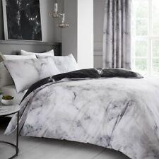 Marble White Grey King Duvet Cover Reversible Quilt Bedding Bed Linen Set Black