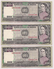 3 Consecutively Numbered Banco Central De Bolivia Mil Pesos Bolivianos Banknotes