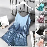 2Pcs Pajamas Set Sexy Lounge Short Solid Ice Silk Lingerie Nightgown Sleepwear