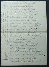 Ecrivain Joseph MERY Poème autographe signé