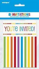 Arco Iris Fiesta Cumpleaños 8 Invitaciones Con Sobres (Fiesta)