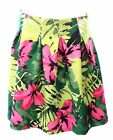 INC International Concepts Pink & Green Floral Skirt with Soft Pleats Size 16 Or