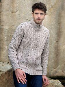 Aran Crafts Irish Merino Wool Full Zip Aran Sweater (Oatmeal)