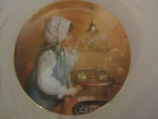 MORNING SONG collector plate SANDRA KUCK Days Gone By CHILDREN Pet Bird in Cage