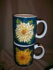 2 Cracker Barrel Country Style By Susan Winget Flower Coffee Mugs