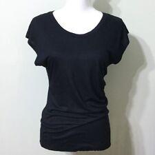 LOFT Side Ruched T Shirt Black Small Women's Top Short Sleeve Dolman Ann Taylor