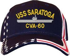 USS Saratoga CVA-60 Embroidered Stars & Stripes Baseball Cap Hat  Navy