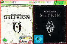 XBOX 360 3 GAMES:THE ELDER SCROLLS 4 + 5-SKYRIM  + OBLIVION +KARTE *700 STUNDEN*