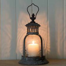 Fleur de Lys Antique Style Metal & Glass Candle Tea Light Garden Lantern UK